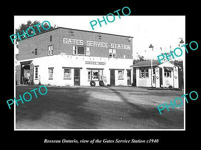 OLD LARGE HISTORIC PHOTO OF ROSSEAU ONTARIO, THE GATES SERVICE STATION c1940