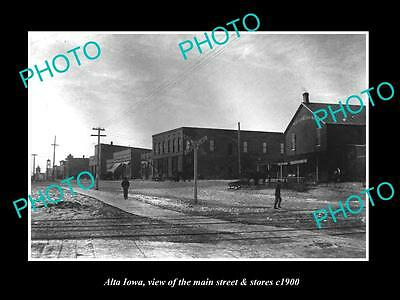 OLD LARGE HISTORIC PHOTO OF ALTA IOWA, VIEW OF THE MAIN STREET & STORES c1900