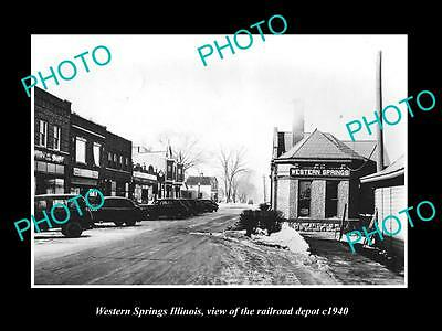 OLD LARGE HISTORIC PHOTO OF WESTERN SPRINGS ILLINOIS, THE RAILROAD STATION c1940