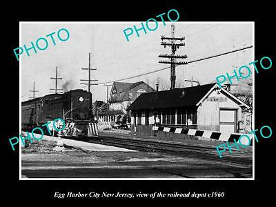 OLD LARGE HISTORIC PHOTO OF EGG HARBOR NEW JERSEY, THE RAILROAD DEPOT c1960