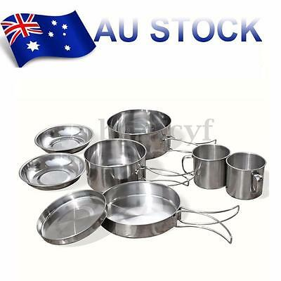 8Pcs Outdoor Camping Hiking Picnic Backpacking Cooking Pot Pan set Cookware