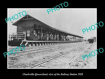 OLD LARGE HISTORIC PHOTO OF CHARLEVILLE QUEENSLAND, THE RAILROAD STATION c1928