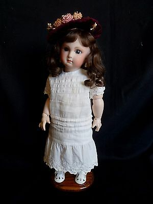 """Reproduction Antique Bru French Doll 15"""" Jointed Composition Body Bisque Head"""