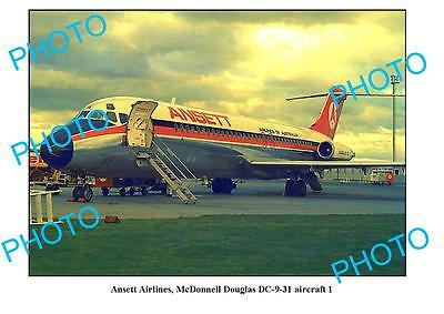 Old Large Photo, Ansett Airlines, Macdonnell Douglas Dc-9 Aircraft 1
