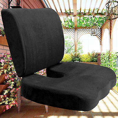 2pcs orthopedic memory foam seat pad home office chair car back support cushion - Office Chair Seat Cushion