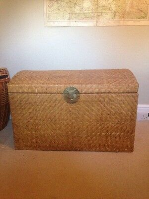 Large Vintage Wooden And Wicker Trunk Laundry Log Toy Chest Basket Brass Handles