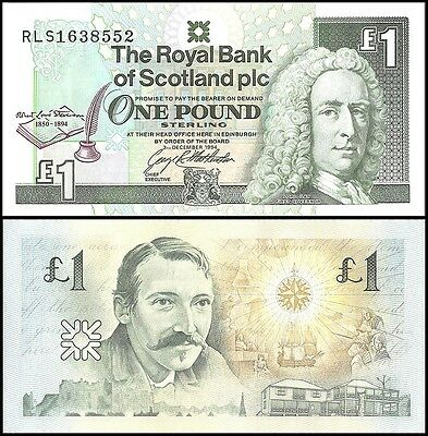 Scotland 1 Pound, 1994, P-358, UNC, Robert Louis Stevenson