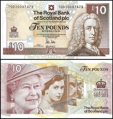 Scotland 10 Pounds, 2012, P-368, UNC, Queen Elizabeth II (QEII)