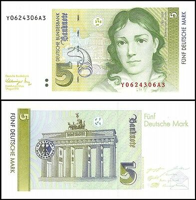 Germany 5 Deutsche Mark, 1991, P-37, UNC, REPLACEMENT