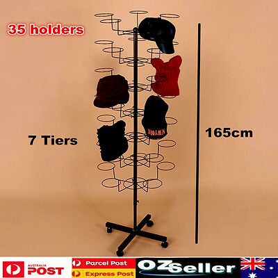 35 Holders Hat Display Rack Stand 7 Tier Rotary Shop Display Cap Stand Holder