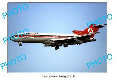 Old Large Photo, Ansett Airlines, Boeing 727 277 Aircraft