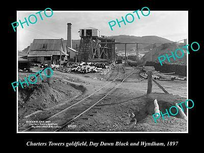 Old Large Historic Photo Of Charters Towers Qld, The Day Dawn Lack Mine 1897