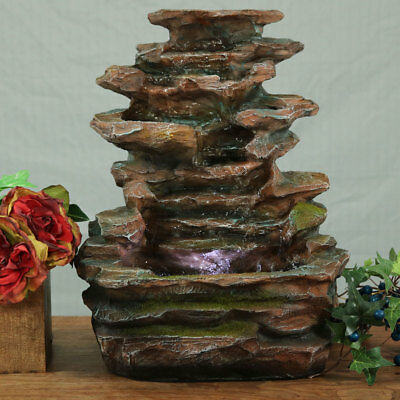 Organic Cascading Step-Style Rock Tabletop Indoor Water Fountain, Perfect Gift