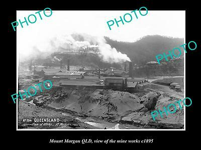 Old Large Historic Photo Of Mount Morgan Qld, View Of Mine Works 1895 1