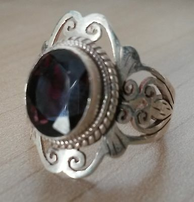 Traditional Sterling Silver Asian Vintage Style Garnet Stone Ring Size O Gift