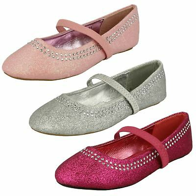 Girls Spot On Flat Party Bridesmaid Slip On Glitter Dolly Shoes Pumps H2293
