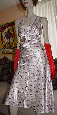 Vintage Glossy wet look floral satin long gown Chemise uk 20