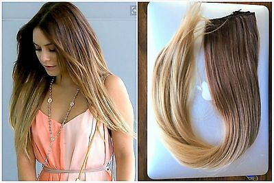 Half Full Head Clip in Hair Extensions Ombre Balayage Hairpieces Brown Blonde
