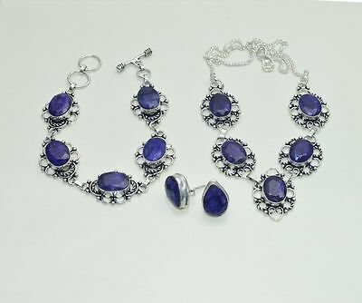 Wholesale 3Pc 925 Silver Plated Blue Sapphire Nice Earring-Necklace-Bracelet Lot