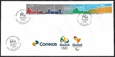 2012 - Brazil - Fdc - Delivery Of Olympic Flag