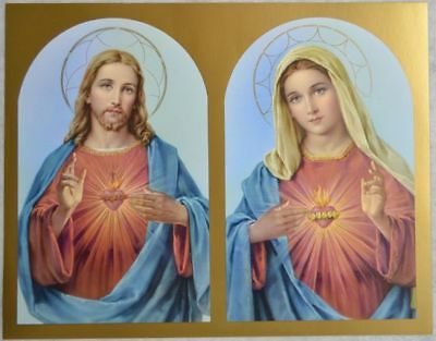 """SACRED HEARTS OF JESUS AND MARY Religious Print, 10"""" x 8"""" (200mm x 250mm)"""
