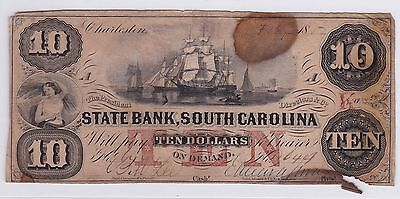 Ten Dollars Us State Bank South California 1854