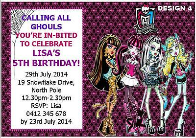 1 X MONSTER HIGH BIRTHDAY GIRLS PERSONALISED PARTY INVITATIONS FREE MAGNETS