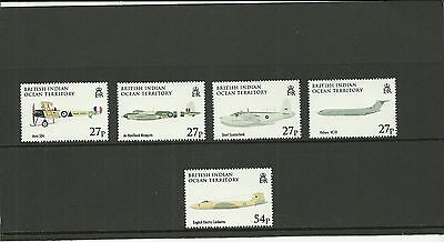 British Indian Ocean Territory Sg379-383 90Th Anniv Of The Raf  Set Mnh