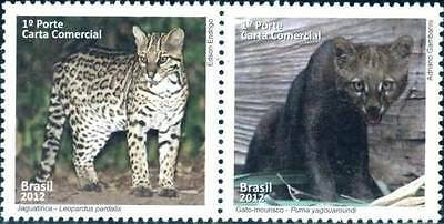 2012 - Brazil - Protected Animals Strip Of 2 Mnh