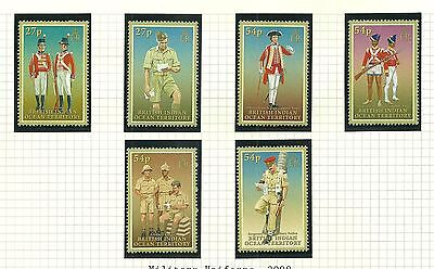 British Indian Ocean Territory Sg373-378 Military Uniforms  Set Mnh