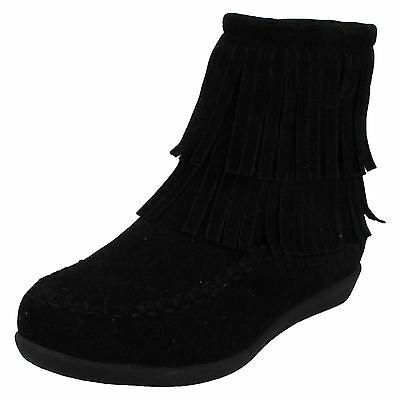 Girls Spot On Zip Up Black Fringe Casual Winter Ankle Boots H5062 Sizes 13 - 5