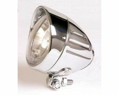 Headlamp H4 90mm chrome motorcycle Bullet Grooved, fastening down Highbeam