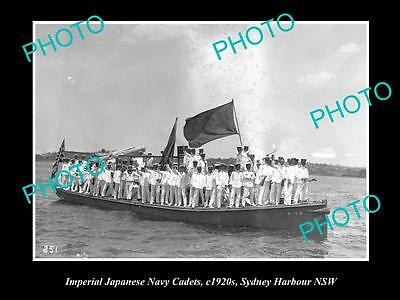 OLD LARGE HISTORIC PHOTO OF JAPANESE NAVY CADETS IN SYDNEY HARBOURS c1920s