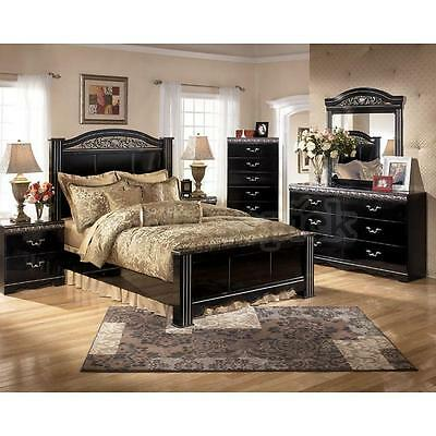 Ashley Constellations B104 King Size Bedroom Set 6pcs in Black Traditional Style