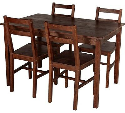 HOME Raye Solid Wood Dining Table and 4 Chairs - Dark Pine
