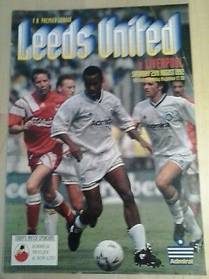 Leeds Utd Programme v Liverpool 29.08.92. Very good condition