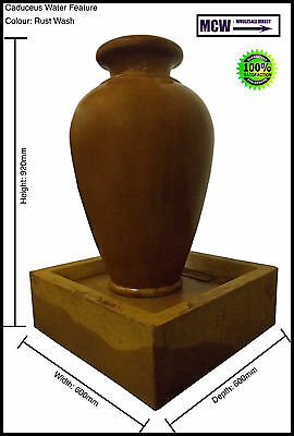 Fountain, Water Feature: Caduceus Water Feature - Rust Wash