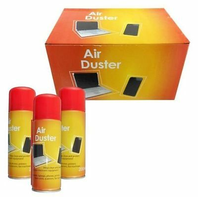 New 200ml 6 x Compressed Air Duster Spray Can Cleans Protects Laptops Keyboards