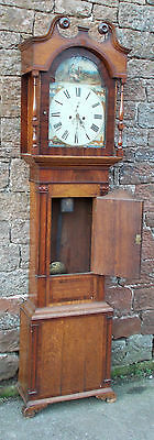 ANTIQUE Grandfather LONGCASE CLOCK In OAK Case With PAINTED Dial, 8 Day