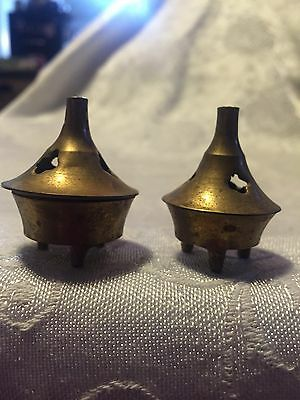 Pair of small BRASS Incense  Burners  footed