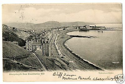 """""""aberystwyth  From  Consitution  Hill"""" Vintage 1904 Postcard."""