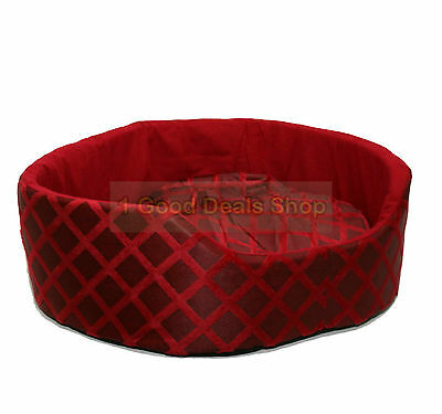 Round Washable Pet Dog Puppy Cat Bed Cushion Soft Warm Basket Red Small