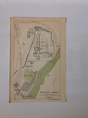 Furness Abbey, The Lake District c1922 Antique Map Bartholomew