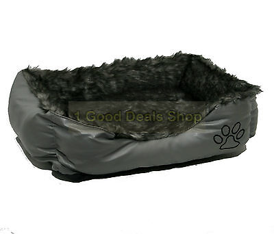 Rex Leather & Fur Washable Pet Dog Puppy Cat Bed Cushion Soft Basket Grey Small