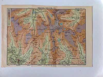 Anbleside, Kirkstone, The Lake District c1922 Antique Map Bartholomew, No.4