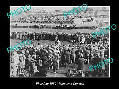 Old Large Horse Racing Photo Of Phar Lap Winning The 1930 Melbourne Cup