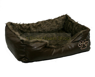 Rex Leather & Fur Washable Pet Dog Puppy Cat Bed Cushion Soft Basket Brown Large