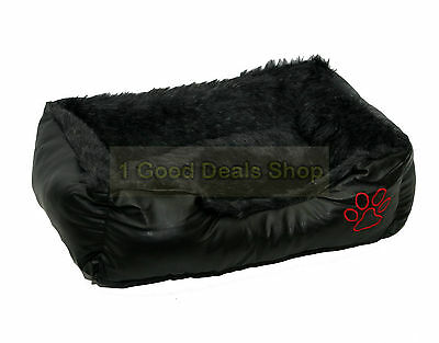 Rex Leather & Fur Washable Pet Dog Puppy Cat Bed Cushion Soft Basket Black Large