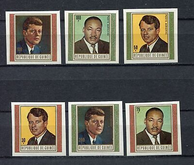 s12289) GUINEA GUINEE1968 MNH** Kennedy M.L.King 6v IMPERFORTED
