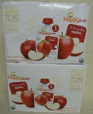 16 Pouches Organic Happy Baby Apple Baby Food Stage 1 3.5 Oz Exp 12-8-16 (B644)